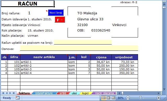 Faktura Račun U Excelu Free Download