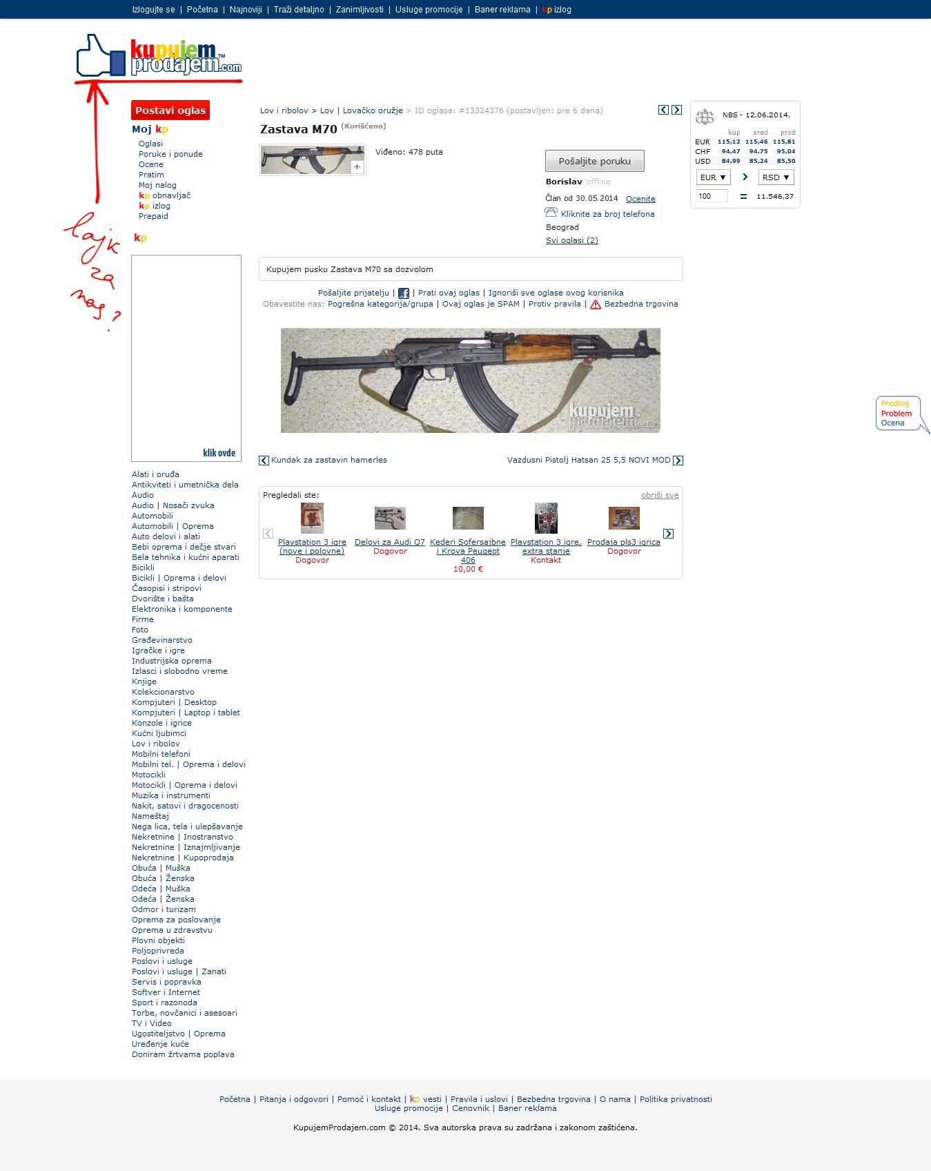 Lov I Ribolov Zastava M70 Id 13324376 Kupujem Prodajem 2014